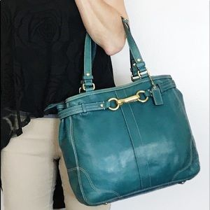 Coach Turquoise Blue Vachetta Leather Nancy Bag